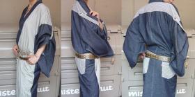 デニム着物での複数素材の組み合わせ