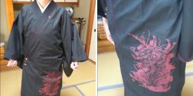 デニム着物×プリント